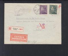 Lettre Bruxelles 1943 Pou La Croix Rouge Geneve - Postdokumente