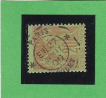 SAGE N° 96   - CACHET A DATE   * PARIS * E3 - DEPART  -  27 AOUT 1900 -  REF 1602 -très Bien Centré - 1876-1898 Sage (Type II)