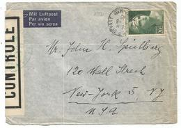 GANDON 20FR SEUL LETTRE AVION NICE 8.8.1945 POUR USA + CENSURE 1ER JOUR DU TARIF AVION RARE - 1945-54 Marianne Of Gandon