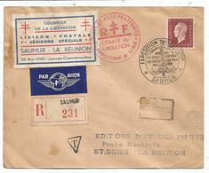 DULAC 15FR SEUL LETTRE REC AVION EXPO SAUMUR  20 MAI 1945 + VIGNETTE AVION  POUR LA REUNION - Libération