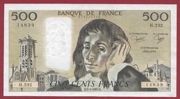 """500 Francs """"Pascal"""" Du 03/04/1985.H----XF/SUP+---ALPH.H.232 - 1962-1997 ''Francs''"""