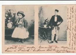 Carte Double Vue Costumes Traditionnels : Albanie/ Enfant Et Macédonien , Avec Timbre Bulgarie - Personnages