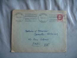 1944 Flamme Krag 2 Fois 3 Lignes Droite Narbonne - Storia Postale