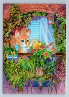 CUTE CAT With MOUSE Mice Watering Flowers On Balcony CUTE New Unposted Postcard - Animaux & Faune