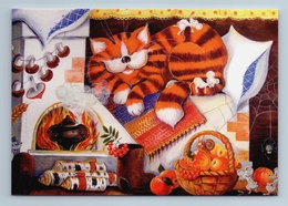 RED CAT Sleeps On Russian Stove In Kitchen Mouse Mice New Unposted Postcard - Animaux & Faune