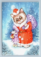 FUNNY CAT And MOUSE As SANTA CLAUS And Snow Maiden Snow Forest New Postcard - Animaux & Faune