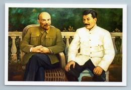 LENIN And STALIN Leaders Of Soviet Communists Propaganda USSR New Postcard - Politica