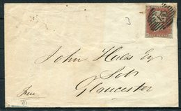 """GB 1d Red Imperf, 4 Margin, """"H-F"""" Cover - Gloucester - 1840-1901 (Victoria)"""