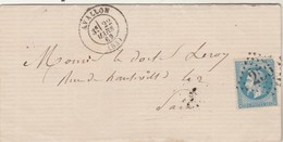 Yvert 29 Lettre AVALLON Yonne 22/3/1869 GC 256 à Paris - Marcofilie (Brieven)