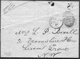 1881 GB 1d Lilac (14 Dots) London NW Duplex - Devonshire Place, Lisson Grove. - Storia Postale