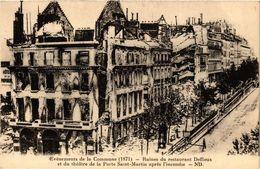 CPA PARIS Evenements De La Commune Ruines Du Restaurant Deffieux (305527) - Evènements