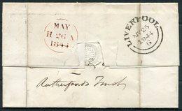 1844 GB 1d Red Imperf Cover Liverpool 466 - Edinburgh - 1840-1901 (Victoria)