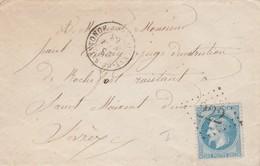 Yvert 29 Lettre Sans Correspondance AULNAY De SAINTONGE Charente Inférieure 28/8/1868 GC 222 à St Maixent - 1849-1876: Periodo Clásico