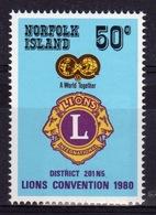 Norfolk Island Single 50c  Stamp To Celebrate Lions Convention. - Norfolk Island