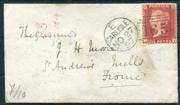 1857 GB 1d Red, Carlisle 165 Sideways Duplex Cover - Frome Via Langrigg, Aspatria, London - 1840-1901 (Regina Victoria)