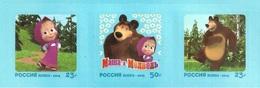 Russia 2019 Strip Russian Contemporary Animation Cartoon Cinema Film Art Masha And The Bear Animals Mammals Stamps MNH - 1992-.... Federation