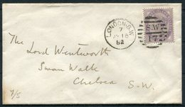 1882 GB 1d Lilac Cover, London SW 17 Duplex - Lord Wentworth, Swan Walk, Chelsea (formerly The Swan Tavern, Samuel Pepys - Storia Postale