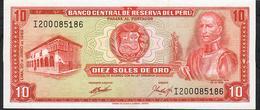 PERU  P100a  10  SOLES DE ORO 20.6.1969  UNC. - Perú