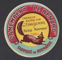 Etiquette De Fromage Camembert  -  Le Renard  -  Grande Fromagerie De Villodon  à Tournay Sur Odon  (14) - Formaggio