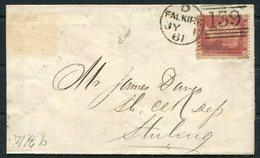 """1861 GB 1d Red """"F-J"""" Falkirk 139 Duplex - Sterling - Storia Postale"""