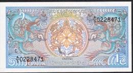 BHUTAN P12b 1 NGULTRUM 1986 #A/5     Signature 2 UNC. - Bhutan