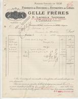 Charente: GELLES Fres Fabrique Bouchons & Entrepôts De Lièges à Cognac / Facture De 1918 - 1900 – 1949