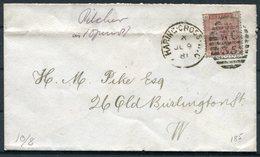 1881 GB 1d, Charing Cross WC35 Duplex Pilcher Cover - Old Burlington Street, London - Storia Postale