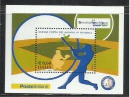 ITALIA REPUBBLICA ITALY REPUBLIC 2009 COPPA DEL MONDO DI BASEBALL WORLD CUP BLOCCO FOGLIETTO BLOCK SHEET MNH - 6. 1946-.. Repubblica