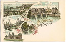 Litho Amsterdam, Waterloo Plein Und Andere Ansichten Um 1900 - Amsterdam