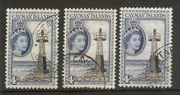 CAYMAN ISLANDS 1953 - 1962 4d X 3 LISTED COLOUR VARIETIES SG 155, 155a, 155b FINE USED Cat £39+ - Caimán (Islas)