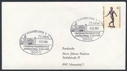 Deutschland Germany 1981 Brief Cover - 75 Jahre Hauptbahnhof Hamburg, Jubiläumstag 5.Dez.1981 / Railway Station / Gare - Treinen