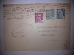 Carte Lettre Oblitérée Avec Entier Postal MARIANNE De GANDON 5 Ces + 2 Timbres 2frs Et 3 Frs - Postwaardestukken