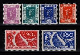 YV 322 à 327 N* Complete Exposition Internationale De Paris 1937 Cote 57 Euros - Frankrijk