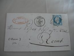 Elbeuf Petit Chiffre 1172 Cachet Type 15  Timbre Empire 20 C Non Dentele Pour Reims - Postmark Collection (Covers)