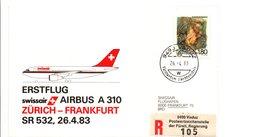 PREMIER VOL SWISSAIR ZURICH-FRANKFURT PAR AIRBUS A 310 1983 - Vliegtuigen