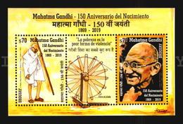 2019 LIMITED TO 5000 URUGUAY MNH S/S ** Mahatma GANDHI -  INDIA LEADER 150 BIRTH ANNIVERSARY + GIFT USED STAMP ON COVER - Mahatma Gandhi