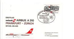 PREMIER VOL SWISSAIR FRANKFURT-ZÜRICH PAR AIRBUS A 310 1983 - Vliegtuigen