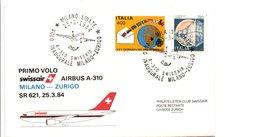 PREMIER VOL SWISSAIR MILAN-ZÜRICH PAR AIRBUS A 310 1984 - Vliegtuigen