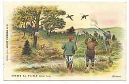 Carte Fantaisie - Chasse Au Faisan Sous Bois...  (pli) - Hunting