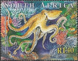SOUTH AFRICA 2001 Marine Life - 1r.40 - Octopus FU - África Del Sur (1961-...)