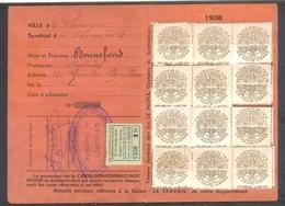 CARTE CONFEDERALE CGT 1938 FSI FEDERATION DES CHEMINS DE FER. AVEC 13 TIMBRES. - Historical Documents