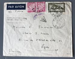 Indochine, Lettre De Tong (Tonkin) Pour Lyon - Taxée (Taxe 42A X2) - (B1705) - Brieven En Documenten