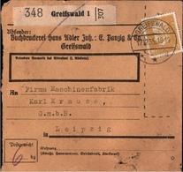 ! 1935 Paketkarte Deutsches Reich, Greifswald - Deutschland