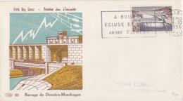 FDC N° 1078 Donzère-Mondragon (barrage), Obl. Flamme Bollène (A Bollène Ecluse Et Usine André Blondel) Le 6/10/56 - FDC