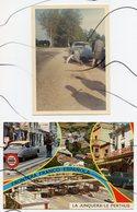 PHOTO COULEUR VINTAGE + CARTE POSTALE . Ancienne Voiture Citroën DS En Panne ?  . - Automobiles