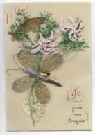 Carte Celluloïd 1er AVRIL ... Poisson... Papillon Métallique... - 1er Avril - Poisson D'avril