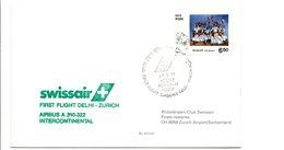 PREMIER VOL SWISSAIR DELHI-ZÜRICH PAR AIRBUS A 310-322 1991 - Airplanes