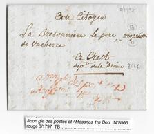1797 AN 5 - LETTRE En FRANCHISE De L'ADMINISTRATION GENERALE Des POSTES MESSAGERIES 1ere DIRECTION => CREST (DROME) - Storia Postale