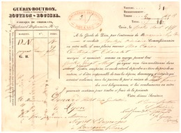 GUERIN-BOUTRON- FABRIQUE DE CHOCOLATS BD POISSONNIERE PARIS  LIVRES PAR MESSAGERIES IMPERIALES 1855 - 1800 – 1899