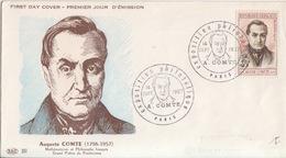 FDC N° 1121 Auguste Comte, Obl. Paris Exposition Philatélique (tête D'auguste Comte) Le 14 Sept. 1957 - 1950-1959